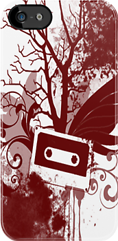 Red Cassette Splatter Case by Jenifer Jenkins