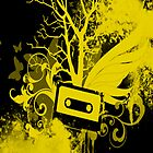Yellow/Black Cassette Splatter Case by Jenifer Jenkins