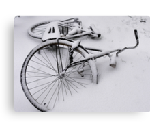 Abandoned in the snow Canvas Print