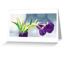 Purple Tulips I. - Oil painting Greeting Card