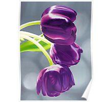 Purple Tulips II. - Oil painting Poster