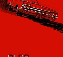 1964 Oldsmobile 442 poster reproduction by htrdesigns