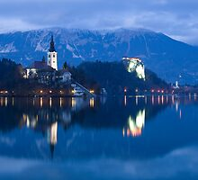Dusk over Lake Bled by Ian Middleton