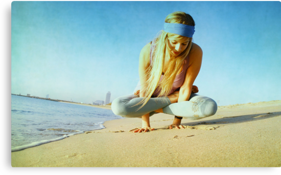 Elevated lotus at the beach by Wari Om  Yoga Photography