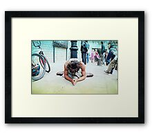 Humble meditation in the streets of Barcelona Framed Print