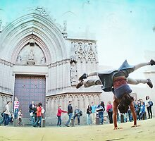 Double handstand on front Santra Maria del Mar, Barcelona by Wari Om  Yoga Photography