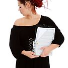 Young woman with folder of documents by fotorobs