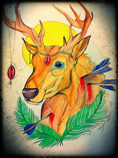 stag and arrows by Beth Whitcombe