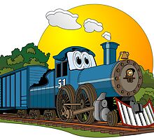 Blue Steam Locomotive Cartoon by Graphxpro