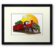Red Cartoon Steam Engine Framed Print