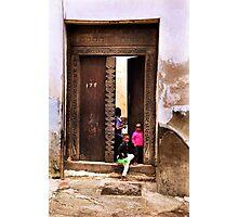 Three African kids Zanzibar Photographic Print