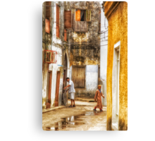 Kids in Stone Town Alley Canvas Print
