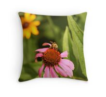 Echinacea with Bee 8670 Throw Pillow