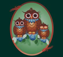 Three Alert Little Owls Oval by Lotacats