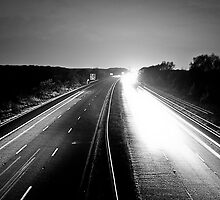 Monochromatic Motorway Lights by AndrewBerry