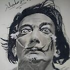 Salvador Dali done free hand in a couple of hours using charcoal by lee gordon