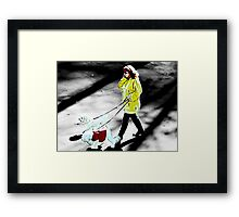 She chatted with her secret lover while she walked the dogs. Upstairs and unaware, her husband drank beer and watched the years fade away. Framed Print