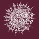 Heart Centred Mandala - white print by TangerineMeg