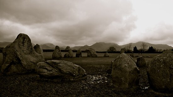 The Dark Side Of The Lake District (Castlerigg Stone Circle) by Lou Wilson