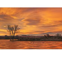 Frozen Pond Sunset Photographic Print