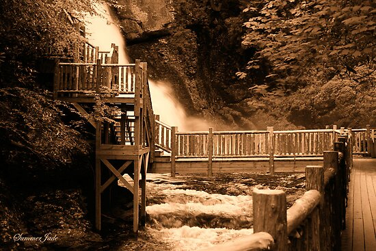 Bushkill Falls in Sepia by SummerJade