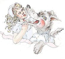 Girl and Wolf by adderrathbone