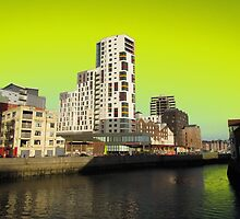Ipswich Waterfront, Dayglow Green Sky by wiggyofipswich