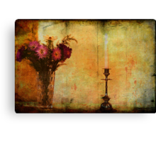 Flowers and a Candle. Canvas Print