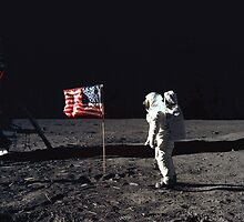 Buzz Aldrin on the Moon with Flag by Jeff Vorzimmer