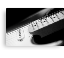 Black and White Fender Electric Guitar Wall Art Canvas Print