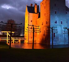 Castle Loevestein at night by Jacqueline van Zetten