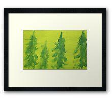 Impression Green Land Pine Trees Framed Print