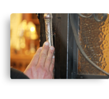 Touching the Mezuzah  of an 1888 synagogue Metal Print