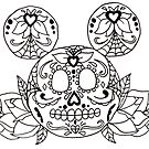 Mickey Mouse Sugar Skull by Lauren Draghetti