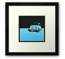 Fiat 500, 1959 - Light blue on black Framed Print