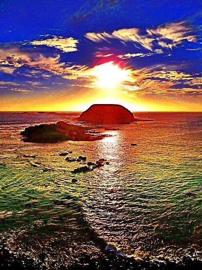 Nobbies Sunset Phosphoresence by TonyCrehan