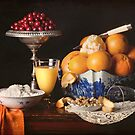 Orange, Cranberry & Walnut Still Life by Rachel Slepekis