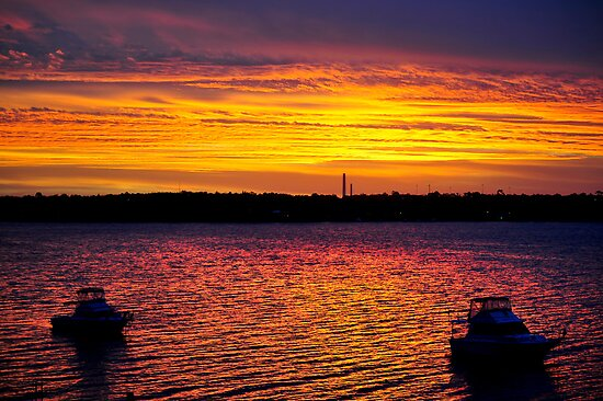 Nords Wharf Sunset - Lake Macquarie by Alwyn Simple