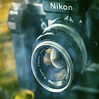 National geographic magazines & vintage Nikon F2 camera-Grunge by Greg Morris