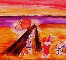 Dad with kids on beach, watercolor by Anna  Lewis