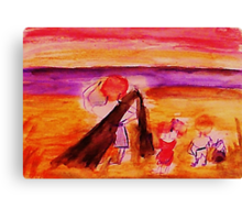 Dad with kids on beach, watercolor Canvas Print