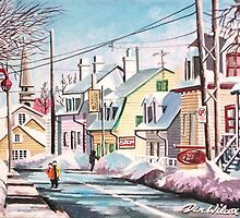 Quebec Village Street by Dan Wilcox