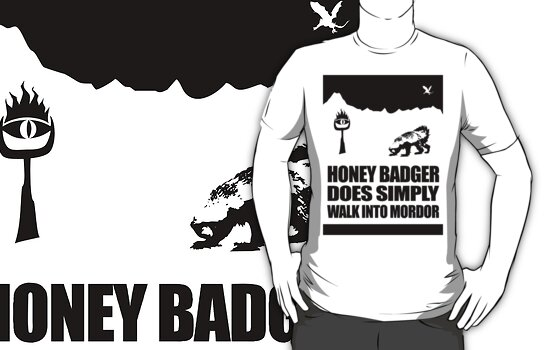 Honey Badger Does Simply Walk Into Mordor (Black Sticker) by jezkemp
