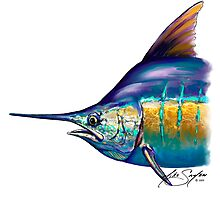 Marlin Portrait - Sport Fishing Fish Drawing Mike Savlen Art by Mike Savlen