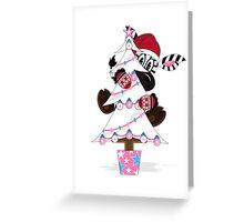 Santa Hat Zebra Climbing Christmas Tree Greeting Card