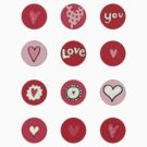 Valentine stickers red by stamptout