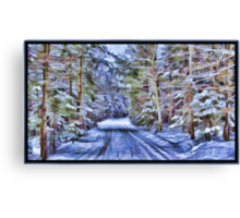 A Fairy Tale Forest with Snowy Evergreen Trees in the Cold Canadian Wilderness Canvas Print