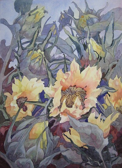 Sunflower Buds  by Anne Bonner