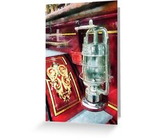 Lantern on Old Fire Truck Greeting Card
