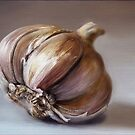 Classic still life garlic painting by Przemysaw Brdka